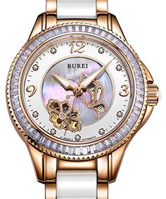 Carlien Luxury Brand Series Skeleton Automatic SelfWind Diamond Ceramic Golden 15022 * Check this awesome product by going to the link at the image. (Note:Amazon affiliate link)