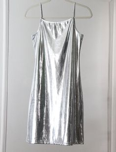 Mega-Shiny Stretchy Silver 90s Spaghetti Strap Mini Dress via Etsy