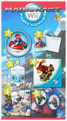 6 Fast and Furious Mario Kart Party Supplies here at http://www.discountpartysupplies.com/boy-party-supplies/mario-kart-party-supplies