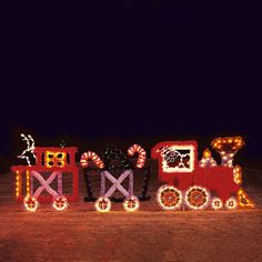 Animated Train 3 Car LED Light Display 22 FT Wide -Animated 3 Car Train Yard Silhouette perfect for business or residential display. Light motion. Professionally designed and built by hand in the U.S.A., using only the highest quality materials. Designed to be inserted into the ground. $3,599.00 #madeinusa #christmaslights
