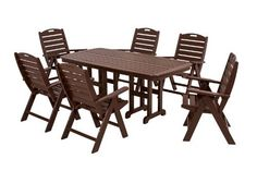 POLYWOOD® Nautical 7-Piece Dining Set by POLYWOOD®. $3059.87. POLYWOOD® lumber resists stains associated with wine and condiments and cleans easily with soap and water. Made in the USA. Set includes six NCH38 Nautical Highback Chairs and one NCT3772 Nautical 37in x 72in Dining Table. Available in 3 attractive- fade-resistant colors. Eco-friendly production with over 90% recycled materials. Nautical 7-Piece Dining Set in Mahogany