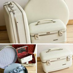 Vintage American Tourister pc Luggage Set Beige Round Overnight Travel & Train Case with Suitcase Wedding Vintage Prop Free Shipping by VintageFlicker