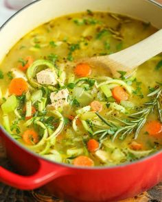 This looks so good!  CHICKEN ZOODLE SOUP Just like moms cozy chicken noodle soup but made with zucchini noodles instead! So comforting AND healthy! 227.3 calories.  INGREDIENTS:  2 tablespoons olive oil divided 1 pound boneless skinless chicken breasts cut into 1-inch chunks Kosher salt and freshly ground black pepper 3 cloves garlic minced 1 onion diced 3 carrots peeled and diced 2 stalks celery diced 1/2 teaspoon dried thyme 1/4 teaspoon dried rosemary 4 cups chicken stock 1 bay leaf 1…