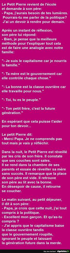 Politique... Le Petit Pierre revient de l'école et demande à son père... - RIGOLOTES.fr