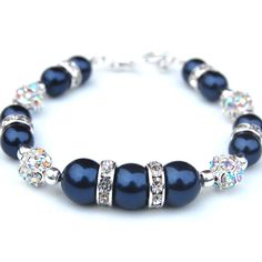 Pearl Bridesmaid Jewelry, Navy Pearl and Rhinestone Bracelet, Mother of the Bride, Bridesmaid Bracelet, Blue Wedding  Evening Accessory