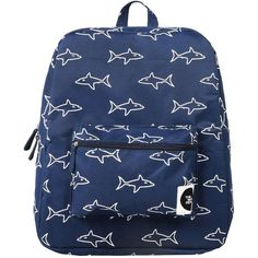 Forever 21 The WhitePepper Shark Canvas Backpack ($75) ❤ liked on Polyvore featuring bags, backpacks, canvas backpack, pattern backpack, blue canvas backpack, laptop backpacks and laptop bag