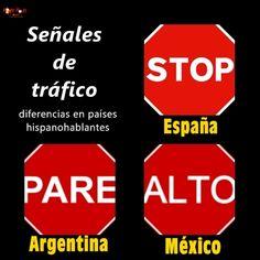 Señal de tráfico en diferentes países hispanohablantes