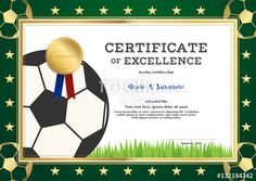 Vector: Certificate of excellence template in sport theme for football match