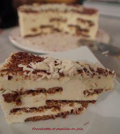 Bolo de Bolacha com chocolate branco.Recette portugaise