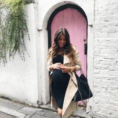 Mimi Ikonn Maternity Style, Mimi Ikonn Pregnant, Autumn Maternity Style, Preggo Style, Trench Coat, Black Dress, London, 41 Weeks, Baby Bump.