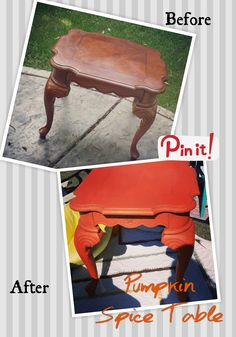 Chalk paint pumpkin Spice end table. See more at 416redesign.blogspot.com