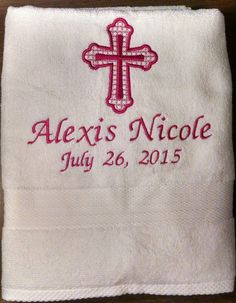 Items similar to Personalized Embroidered Baptism Towel With Cross on Etsy