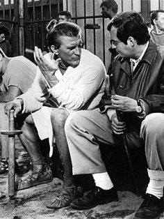 """Spartacus,"" 1960. Kirk Douglas and director, Stanley Kubrick, on the set."