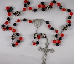 Czech 8mm Opaque Black & Red Glass Beads with 10mm Ceramic Soccer Balls with Italian Holy Face Center and Italian Silver Crucifix Rosary by JMJBlessedBeads on Etsy