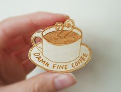 Twin Peaks Brooch - 'Damn Fine Coffee' on Etsy, $9.50