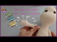 Cómo hacer el dedo pulgar a muñecos amigurumi - Puntos garbanzo, popcorn y piña - YouTube