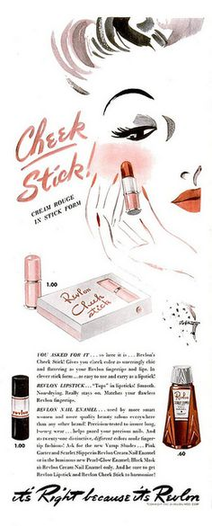 Cream rouge in stick form brought to you by Revlon.