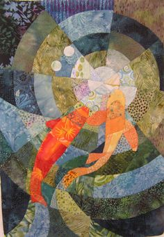 Koi Pond. Quilt fabric art by C. Collier, Portland.