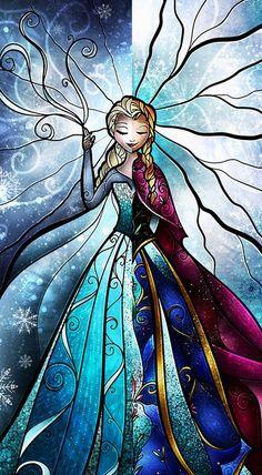 Anna & Elsa (2-Faced / Stained Glass by MandieManzano @deviantART) #Frozen