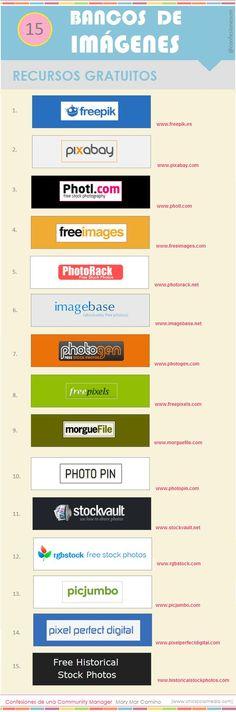 15 sitios de descargas gratuitas de imágenes #infografia #infographic #design: