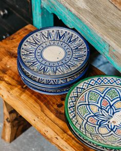 The Blue Door Santa Barbara is a Vintage and Modern Collection now open in the Funk Zone, Santa Barbara, CA! Hanging Plates, Plates On Wall, Moroccan Plates, Decorative Items, Decorative Bowls, Palestine Art, Ceramic Tableware, Spare Room, Vintage Decor