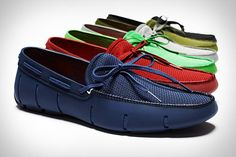"Swims Loafer —  This ingenious waterproof shoe is made from durable Swims rubber, and features anti-bacterial mesh lining, an outsole made from natural rubber for terrific grip, ""gills"" around the shoe base to let water out and air in, an EVA footbed for comfort, and color-matching laces to finish off the upscale effect."
