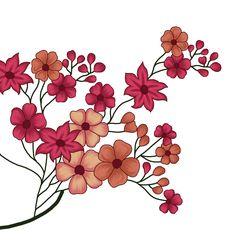 Hd Flowers, Draw Flowers, Art Sketches, Art Drawings, Textiles, Leaves, Frame, Wallpapers, Digital