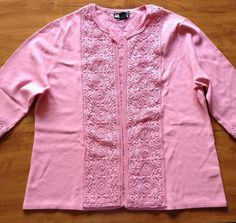 Pink Lace Beaded 2 Piece Cardigan Sweater Set Berer Plus Size 2X Quarter Sleeve - Sweaters