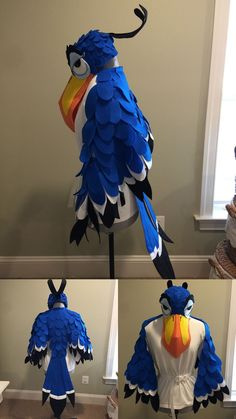 Completed low-budget Zazu costume - made for ES production of The Lion King Junior. The entire costume (including hat and shirt) cost about $30 to make.