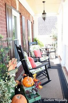 A southern front porch decked out for fall