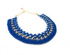 SALE Black Crochet Statement Necklace by ChichiKnots on Etsy