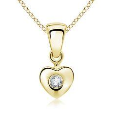 Round Diamond Heart Pendant in 18k Yellow Gold #Angara