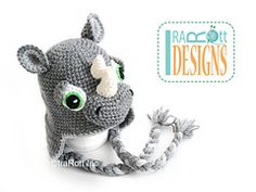 Ravelry: Riley Rhino the Rhinoceros Hat PDF Chrochet Pattern pattern by Ira Rott