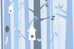 Birdforest - Blue - Fototapeter & Tapeter - Photowall