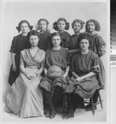 The girls of the San Joaquin Valley champion basketball team, circa 1910. c.1910. California State University Stanislaus Library/Calisphere.