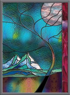 Stained Glass Window   Stormy Mountain   by stainedglassfusion