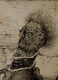 翁-Q 午後の産声 部分 2004 etching A part of printmaking Old man-Q The first cry in the afternoon, Toshihiko Ikeda