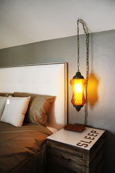 i need a bed side table that tells me to SLEEP.     I love the rustic and modern feel, I do want to sleep in this bed