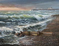 Eril Nisbett - Worthing Beach - Oil on canvas board. Landscape Art, Landscape Paintings, Beach 2017, Painter Artist, Oil Painters, Canvas Board, Australian Artists, Oil On Canvas, Worthing
