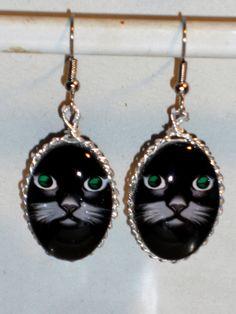 Ohrringe+Katze+schwarz+oval+Glas+Edelstahl+von+Verrückte+Ohrringe+und+Schmuck+Welt+auf+DaWanda.com