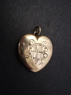 Antique Heart Locket Monograms - Victorian - Gold finish - Heart shape - Hinged  - Signed Premier