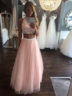 Two Pieces A Line Beading Tulle Long Prom Dresses Cheap Pink Evening Dress A-Line Evening Dresses Prom Dresses Long Prom Dress Prom Dresses Two Piece Prom Dresses Cheap Prom Dresses 2020 Prom Dresses Long Pink, Pretty Prom Dresses, Prom Dresses Two Piece, Prom Dresses 2017, A Line Prom Dresses, Cheap Prom Dresses, Cute Dresses, Dress Long, Prom Gowns