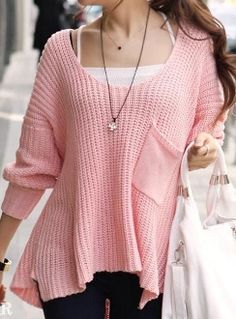 Pink Tender Single Pocket Sweater