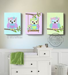 Green and Purple Owl Nursery Girl Room Decor - OWL canvas art, Baby Nursery Owl Canvas Set, woodland nursery art , Owl print for nursery.