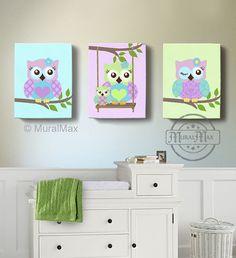 Green and Purple Owl Nursery Girl Room Decor - OWL canvas art, Baby Nursery Owl Canvas Set, woodland nursery art , Owl print for nursery.
