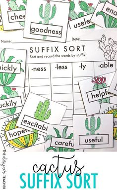 Provide students with practice recognizing and sorting suffixes with this fun cactus-themed center. This product contains 30 cards containing words with prefixes -ly, -ful, -ness, -less, & -able, as well as a recording sheet. Simply print, cut apart cards, and provide students with recording sheet. This activity can be used as an easy center or work task. Simple directions and readable fonts make this center perfect for special education students and ELLs. {from The Designer Teacher}