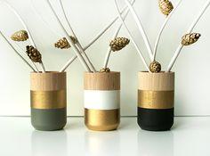 Holzvasen 3er-Set Gold // wooden vase by Shade on shape via DaWanda.com