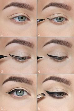"Try this simple winged liner for when you're not in the mood or simply don't have time for a more elaborate ""no makeup"" makeup look. It will make your eyes pop!"