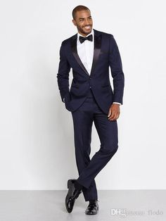 2016 Men Navy Tuxedos Two Piece Suits One Button Peak Lapel Satin Custom Made Wedding Groom Slim Suits High Quality Formal Suit For Men Groomsmen Tux From Flodo, $70.43| Dhgate.Com