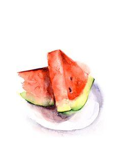 Watermelon Watercolor Painting Art Print, Still Life, Kitchen Decor Wall Art